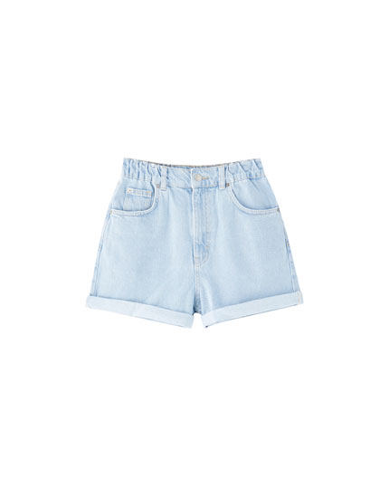 Denim Bermudas with elastic waistband