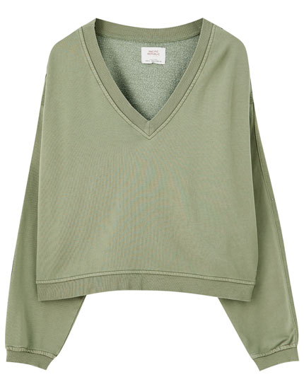 Faded-effect khaki sweatshirt