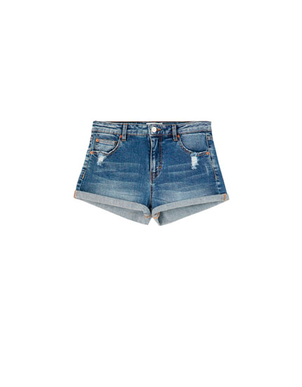 Shorts denim vita media