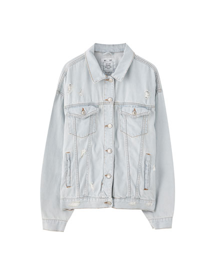 Oversized light blue denim jacket