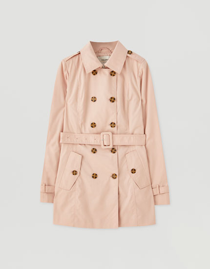 Basic trench coat with fabric belt
