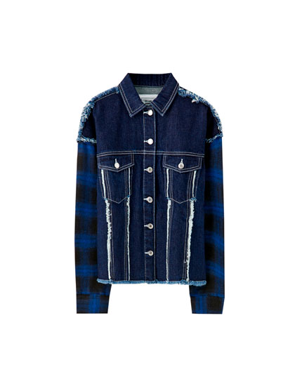 Denim jacket with contrast seams