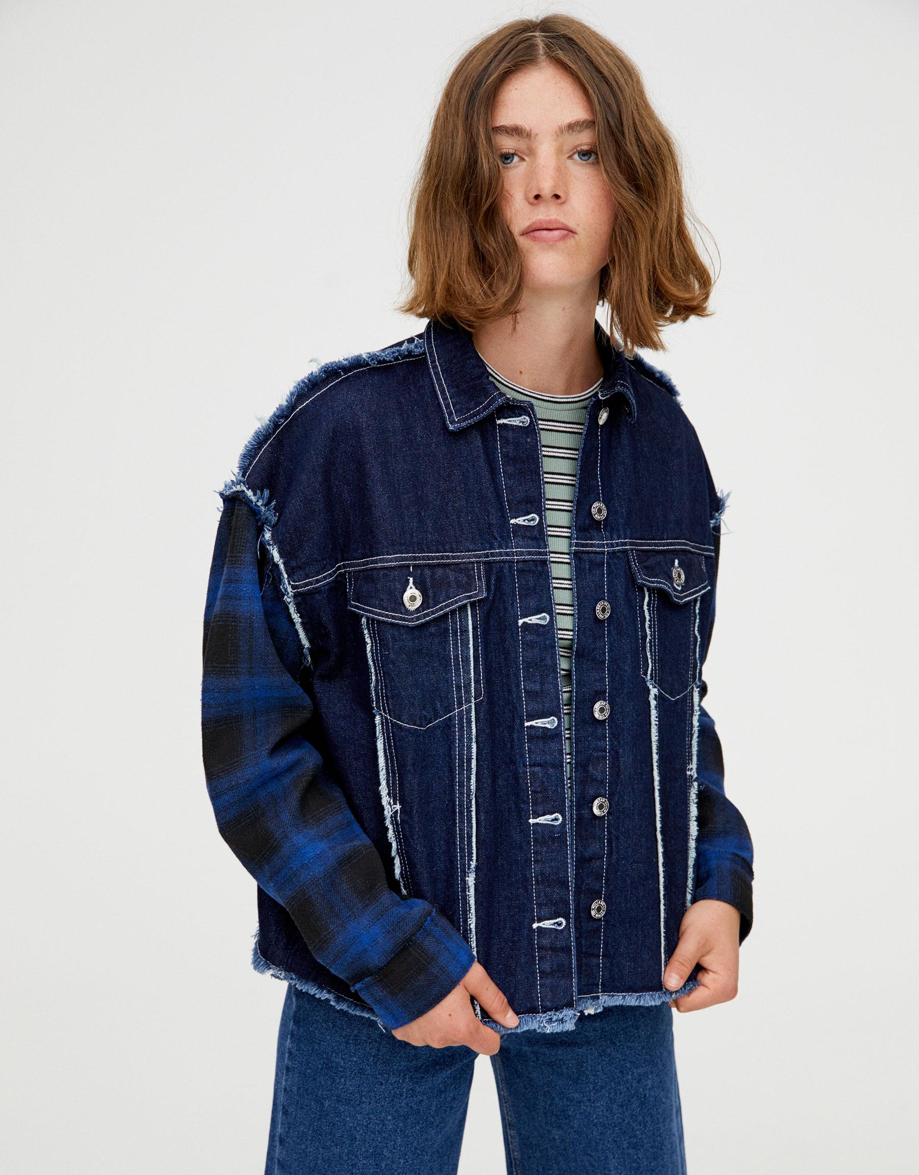 Джинсовая куртка с контрастными швами ТЕМНО-СИНИЙ Pull & Bear