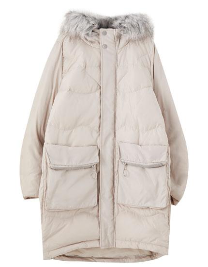 Manteau matelassé fourrure sur capuche