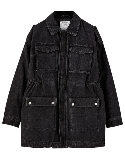 Black denim worker jacket