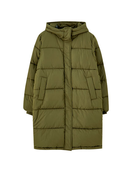 Long coloured puffer coat