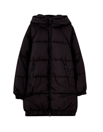 Long puffer coat with contrast zips