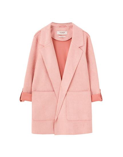 Abrigo antelina rosa