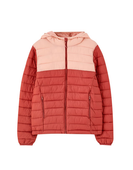 High collar colour block puffer jacket