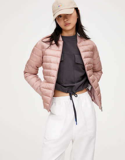 Puffer jacket with ribbed trims
