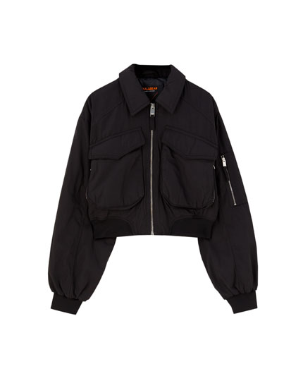 Bomber jacket with flap pockets