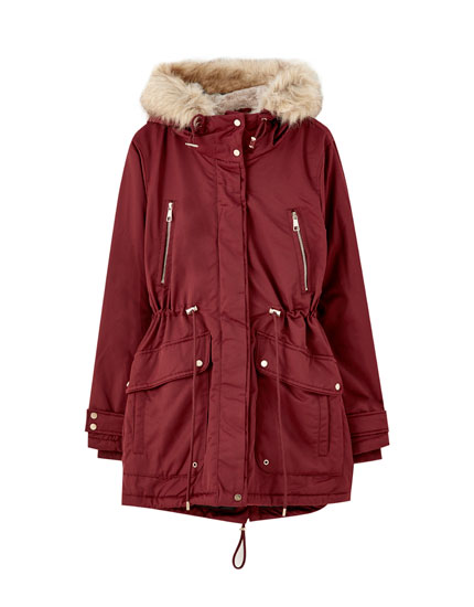 Burgundy parka with faux fur hood lining