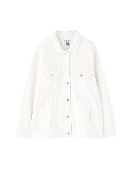Oversized white denim jacket