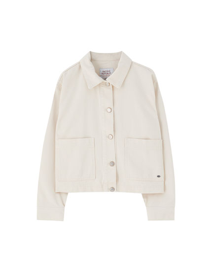 Beige worker jacket with pockets