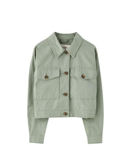 Khaki cropped jacket with pockets