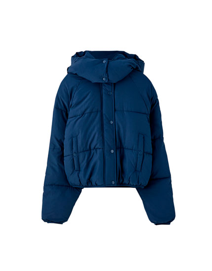 Coloured hooded puffer jacket