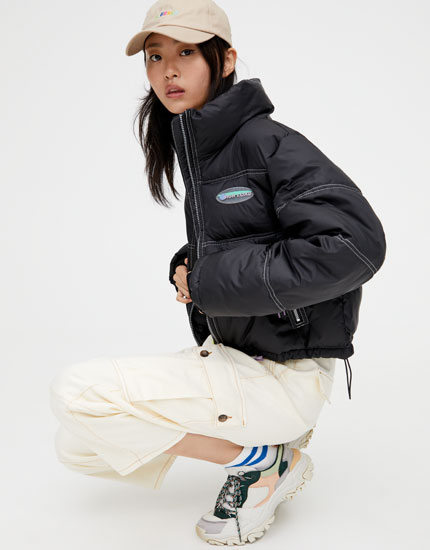 Cropped high collar puffer jacket