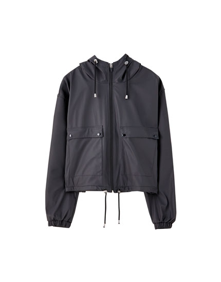 Short hooded raincoat