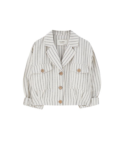 Loose-fit striped jacket