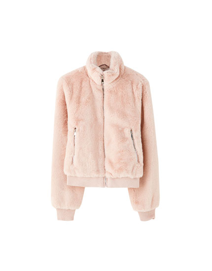 Faux fur high collar jacket