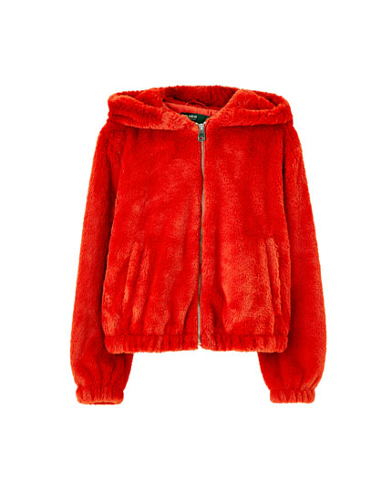 Coloured hooded faux fur jacket