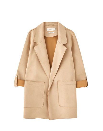 Long faux suede coat