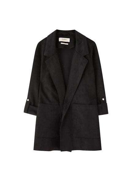 Długi płaszcz ze sztucznego zamszu
