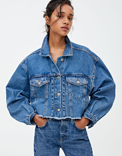 Oversized cropped denim jacket with pleats