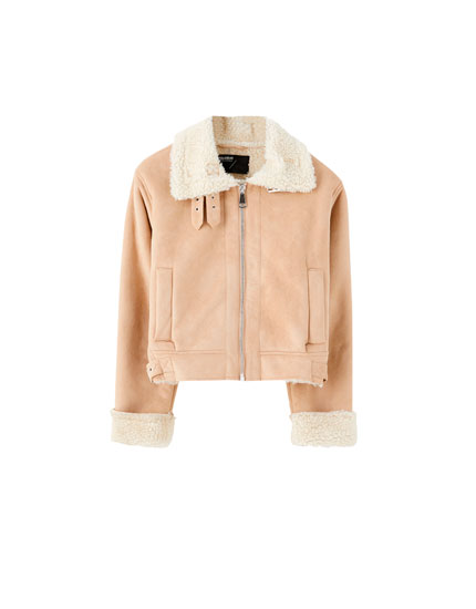 Faux suede reversible jacket