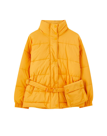 Orange puffer jacket with belt