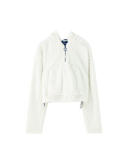 Ζακέτα hoodie με γούνα
