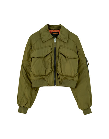 Bomber jacket with front pockets