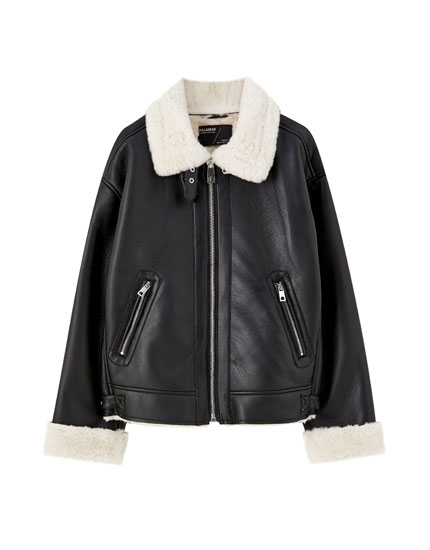 Faux fur double-faced jacket