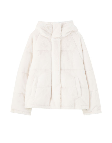 Puffer jacket with faux fur detail