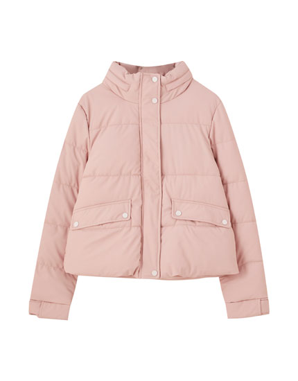 Pink rubberised puffer jacket