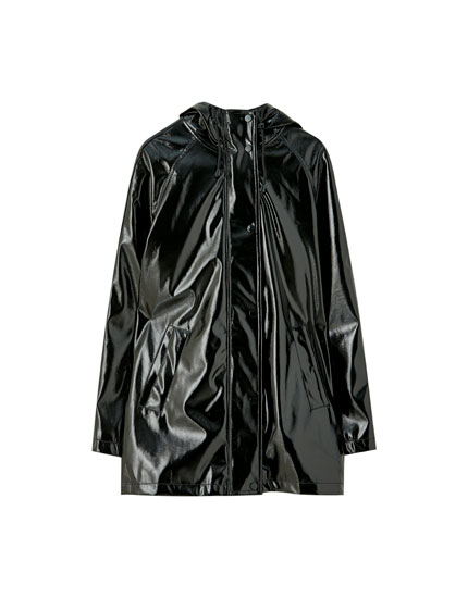 Black faux patent leather raincoat