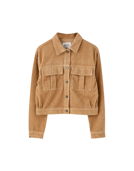 Corduroy jacket with elastic