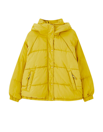 High neck puffer jacket with a hood