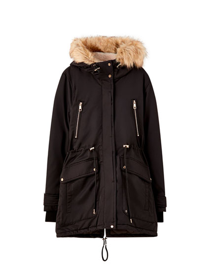 Long faux fur lined parka