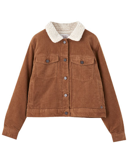 Short corduroy jacket with faux shearling