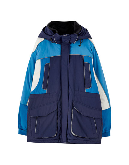 Long blue puffer jacket