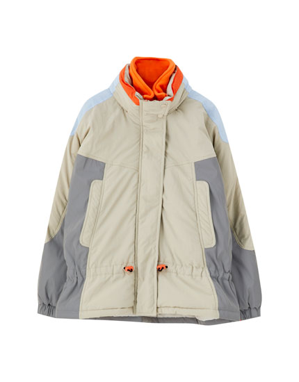 Contrast colour block technical jacket