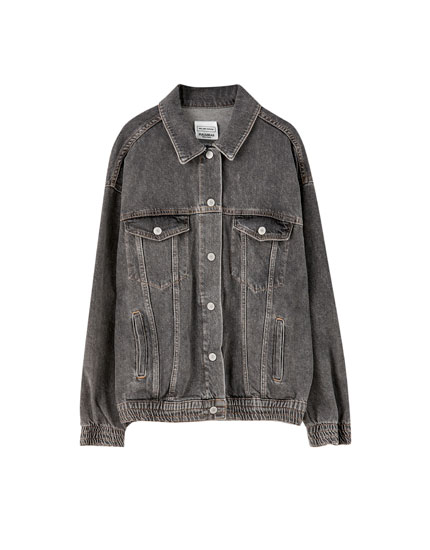 Denim jacket with elastic hem