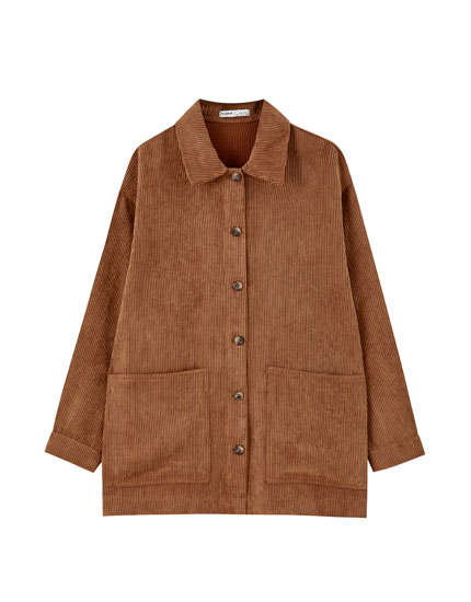 Corduroy worker jacket with pockets