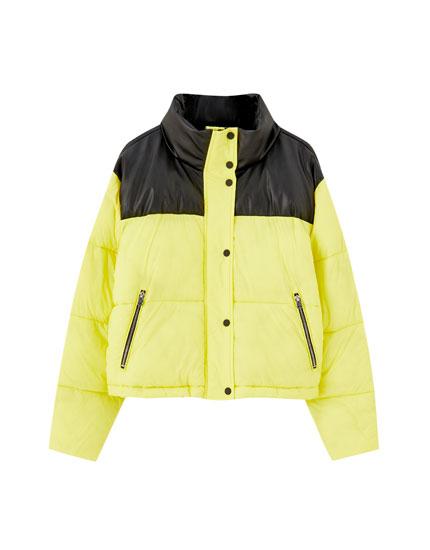 Yellow puffer jacket