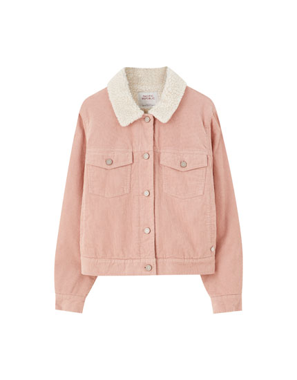 Pink corduroy jacket with faux shearling