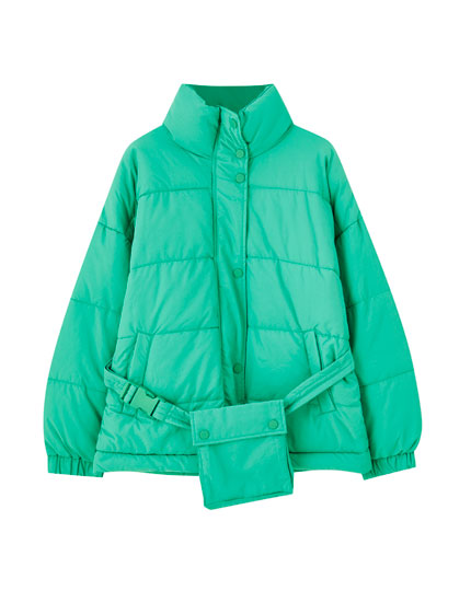 Green puffer jacket with belt