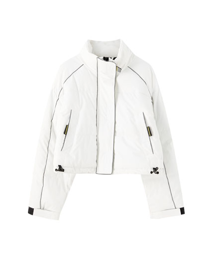 White reflective puffer jacket