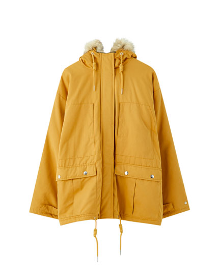 Cropped parka with pockets