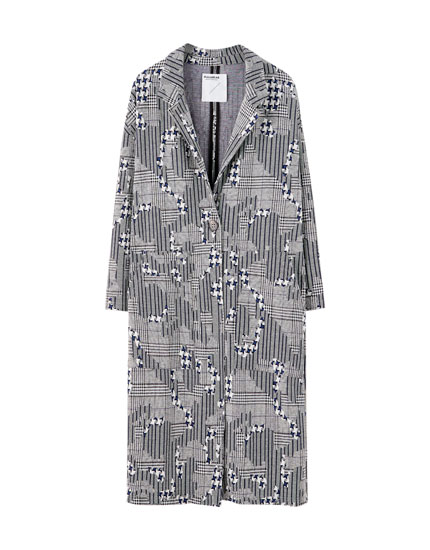 Long oversized printed coat